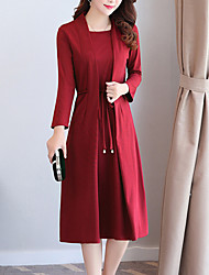 Women's Casual/Daily Simple Loose Dress,Solid Square Neck Midi Long Sleeves Polyester Spring Fall Mid Rise Micro-elastic Medium
