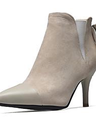 Недорогие -Жен. Обувь Бархатистая отделка Дерматин Зима Осень Модная обувь Ботинки На шпильке Заостренный носок Ботинки Бант для Для праздника Для