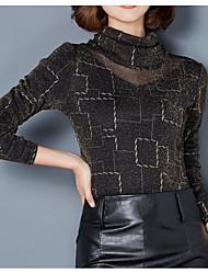 economico -T-shirt Da donna Per uscire Vintage Per tutte le stagioni,Con stampe A collo alto Poliestere Maniche lunghe Medio spessore