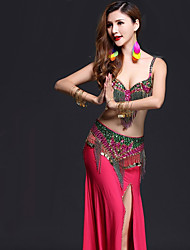cheap -Belly Dance Outfits Women's Performance Spandex Crystals/Rhinestones Tassel(s) Split Sleeveless Dropped Skirts Bra Belt