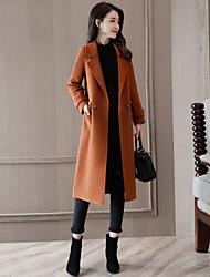 cheap -Women's Club Sexy Winter Coat,Solid Shirt Collar Long Sleeves Long Wool