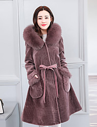 cheap -Women's Daily Sophisticated Winter Fall Fur Coat,Solid Long Sleeves Long 100% cashmere