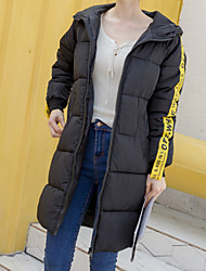 Women's Long Padded Coat,Casual Daily To-Go Solid-Polyester Spandex Long Sleeves
