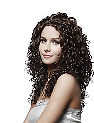 cheap -Women Human Hair Lace Wig Brazilian Human Hair Lace Front 130% Density Kinky Curly Wig Medium Brown Dark Brown Black Dark Black Short