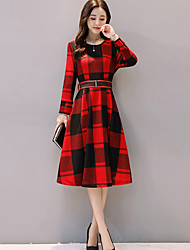 cheap -Women's Going out Work Sheath Swing Dress,Striped Geometric Check Round Neck Knee-length Long Sleeves Others Mid Rise Micro-elastic Medium