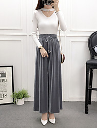 cheap -Women's Mid Rise Micro-elastic Wide Leg Pants,Casual Solid Winter Fall