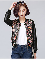 cheap -Women's Daily Simple Casual Spring Fall Leather Jacket,Print Round Neck Long Sleeves Short PU