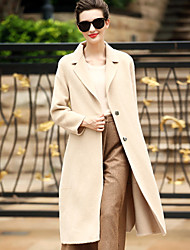 Women's Daily Wear to work Simple Casual Winter Coat,Solid Tailored Collar Long Sleeves Long Wool