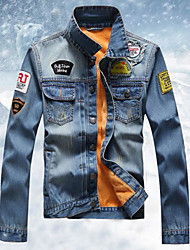 Men's Going out Casual/Daily Simple Fall Denim Jacket,Solid Regular Cotton