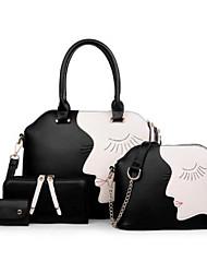 economico -Donna Sacchetti PU (Poliuretano) sacchetto regola Set di borsa da 4 pezzi Cerniera per Casual Tutte le stagioni Blu Nero Rosso Marrone