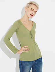 Women's Casual/Daily Sexy Regular Pullover,Solid V Neck Long Sleeves Cotton Fall Medium Micro-elastic
