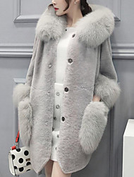 cheap -Women's Plus Size Rabbit Fur Faux Fur Fur Coat - Solid