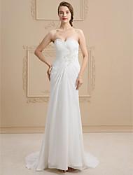 economico -A tubino A cuore Strascico a terra Di pizzo Raso Vestito da sposa con Perline Con applique Incrociato di Ed Bridal