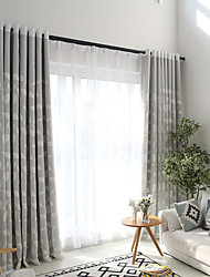 Grommet Top Double Pleat Pencil Pleat Curtain Contemporary Casual , Floral Bedroom Polyester Material Blackout Curtains Drapes Home