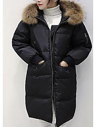 preiswerte -Damen Daunen Mantel Einfach Lässig/Alltäglich Solide-Andere Weiße Entendaunen Langarm Weiß / Schwarz