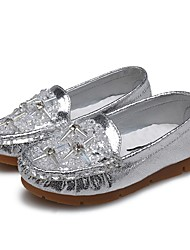 cheap -Girls' Shoes Leatherette Spring / Fall Comfort Flats Rhinestone / Crystal / Sparkling Glitter for Gold / Silver / Pink / Wedding
