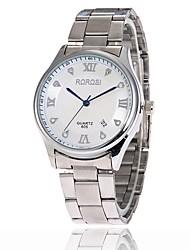 Homens Mulheres Simulado Diamante Relógio Quartzo Calendário Lega Banda Prata