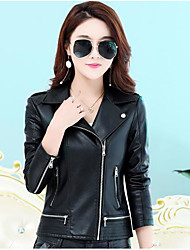 cheap -Women's Daily Going out Simple Casual Fall Leather Jacket,Solid Shirt Collar Long Sleeves Short PU