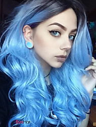 cheap -New Long Teal Blue Fashion Black to Blue Ombre Hair Natural Looking Popular Design Body Wave Synthetic Wigs Heat Resistant