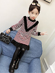 Girls' Striped Tee,Cotton Polyester Winter Fall Black Wine