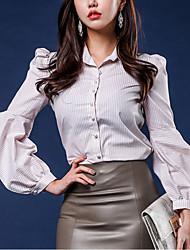 cheap -Women's Going out Street chic Spring/Fall Shirt,Striped Shirt Collar 3/4 Length Sleeve Polyester Medium