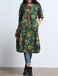 abordables -Femme Chinoiserie Ample Robe Fleur