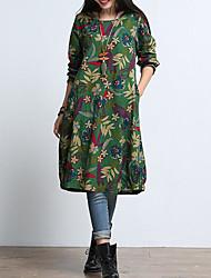 Ample Robe Femme Décontracté / Quotidien Chinoiserie,Fleur Col Arrondi Au dessus du genou Manches longues Coton Automne Taille Normale