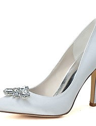 preiswerte -Damen Schuhe Satin Frühling Sommer Pumps Hochzeit Schuhe Spitze Zehe Strass Für Hochzeit Party & Festivität Weiß Purpur