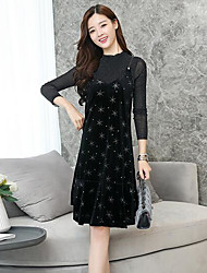 cheap -Women's Daily Casual Fall T-Shirt Dress Suits,Print Round Neck Long Sleeves Polyester