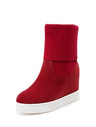cheap -Women's Shoes Knit Flocking Fall Winter Comfort Boots Flat Heel Round Toe For Outdoor Office & Career Red Black