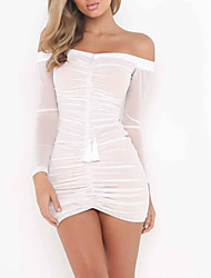 cheap -Women's Going out A Line Dress - Solid Colored White Boat Neck