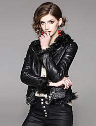 Feminino Jaquetas de Couro Casual Para Noite Moda de Rua Outono Inverno,Sólido Curto 100% Poliéster Pele de Carneito Colarinho de Camisa