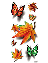 Colorful Butterfly Red Maple Leaf Green  Waterproof Flower Arm Temporary Tattoos Stickers Non Toxic Glitter