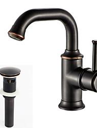 abordables -Archaïsant Vasque Soupape céramique 1 trou Bronze huilé, Robinet