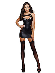 cheap -Fashion Faux Leather Dance Club Wear Black Fishnet  Sexy Dresses Clubwear High Quality Leather Dress