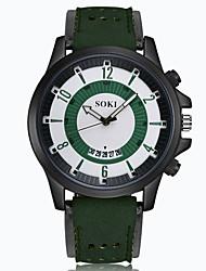 cheap -Men's Wrist watch Fashion Watch Quartz Calendar / date / day Leather Band Charm Black Brown Green Khaki