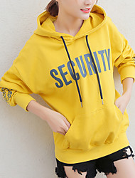 Women's Petite To-Go Casual Hoodie Letter Hooded Without Lining Hoodies Stretchy Polyester Long Sleeve Fall