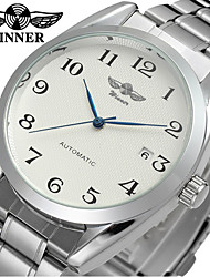 WINNER Men's Dress Watch Wrist watch Mechanical Watch Automatic self-winding Hollow Engraving Stainless Steel Band Luxury Vintage Casual