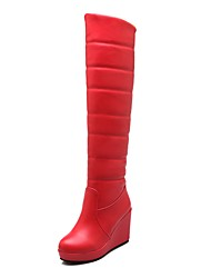 cheap -Women's Shoes Leatherette Winter Snow Boots / Fur Lining Boots Round Toe Over The Knee Boots White / Black / Red