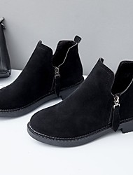 cheap -Women's Shoes Suede Winter Fashion Boots Comfort Boots Round Toe Booties/Ankle Boots for Casual Outdoor Black