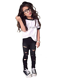 cheap -Girls' Simple Cartoon Clothing Set, Cotton All Seasons Short Sleeves Cute Casual Active White