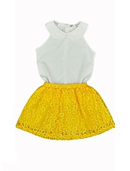 cheap -Girls' Solid Simple Vintage Clothing Set,Cotton Acrylic Spandex All Seasons Sleeveless Cute Casual Active Yellow