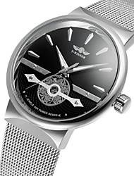 levne -WINNER Pánské Náramkové hodinky Hodinky k šatům Módní hodinky Automatické natahování S dutým gravírováním Nerez Kapela Vintage Na běžné