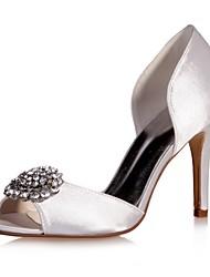 preiswerte -Damen Schuhe Satin Frühling Sommer Pumps Hochzeit Schuhe Stöckelabsatz Peep Toe Strass für Hochzeit Party & Festivität Purpur Rot Blau