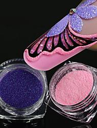 cheap -2pcs Colorful Nail Glitter Sugar Powder Manicure Pigment Fine Nail Powder Dust Flakes Tips For Polish Base Coat Decor