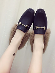 cheap -Women's Shoes Microfiber Fall / Winter Comfort / Fur Lining Loafers & Slip-Ons Square Toe Black