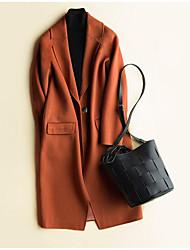 Недорогие -Для женщин Работа одежда На каждый день Весна Осень Пальто Асимметричный вырез,Простой Однотонный Длинная Длинный рукав,Полиэстер