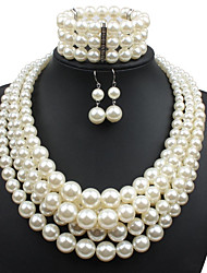 cheap -Women's Imitation Pearl Jewelry Set Earrings / Necklace / Bracelets - Statement Circle Beige For Casual / Evening Party