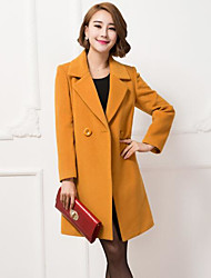 cheap -Women's Daily Going out Simple Casual Fall Coat,Solid Long Sleeves Long Wool