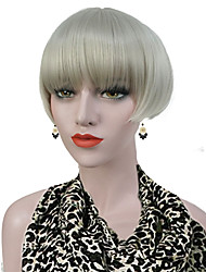 cheap -Short Straight silvery Blonde  Bob, Swept Bangs Full Synthetic Wig